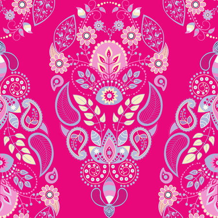Vector indian seamless pattern with stylized flowers and paisley Stock fotó