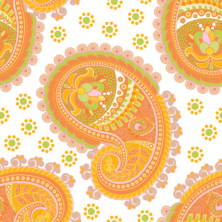 Vector indian seamless pattern with stylized paisley