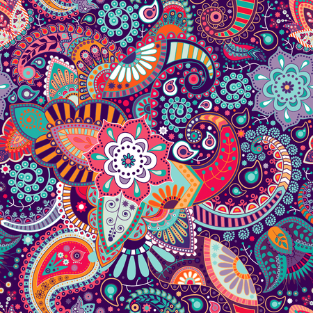 Vector indian seamless pattern with stylized flowers and paisley Stockfoto