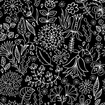 Black and white floral seamless pattern. Floral wallpaper