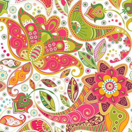 Floral seamless pattern. Paisley flowers