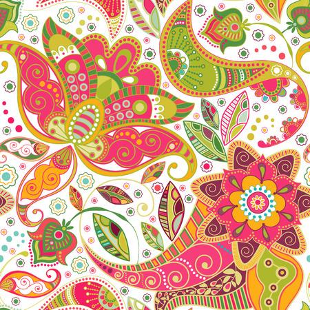 batik: Floral seamless pattern. Paisley flowers