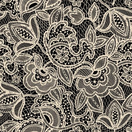 レース シームレス パターン。ヴィンテージの花壁紙  イラスト・ベクター素材