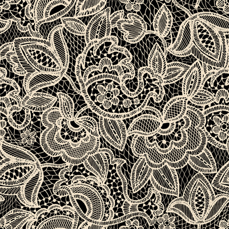 Kant naadloos patroon. Uitstekend bloemenbehang Stock Illustratie