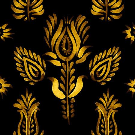 baclground: Decorative seamless pattern, golden flowers onthe dark baclground