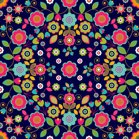 seamless pattern floral: Colorful flowers seamless pattern, floral background