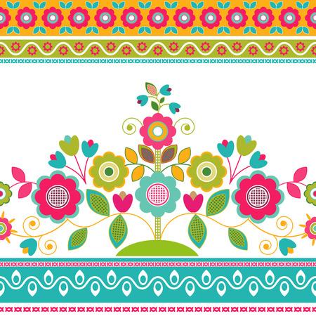 Decorative seamless floral border, decorative flowers