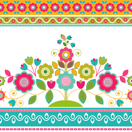 Decorative seamless floral border, decorative flowers