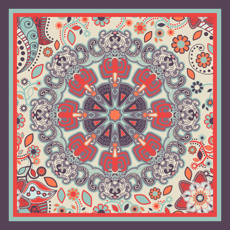 batik: conception pour mouchoir de poche, ch�le, textile. Fond ornemental ethnique Illustration