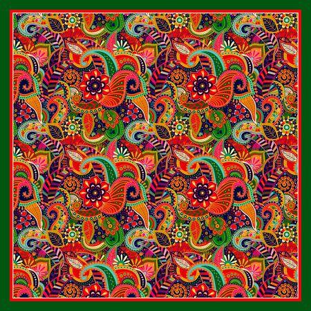 malaysia: Design for square shawl, textile. Paisley ornament