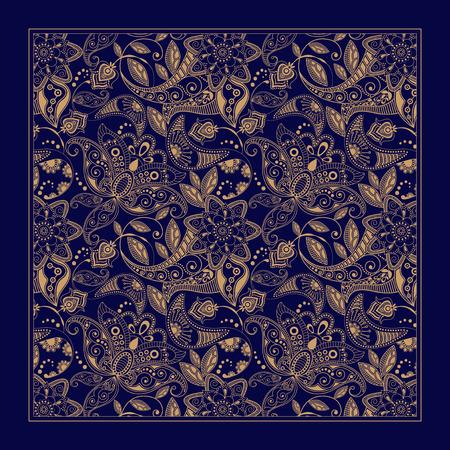 indianische muster: Ornamental Blumenmuster, Design f�r Einstecktuch, Textilien, Seide Schal Illustration