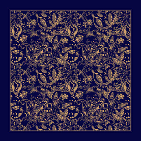pattern is: Ornamental floral pattern, design for pocket square, textile, silk shawl