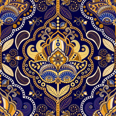 ペーズリー柄のシームレス パターン。花の観賞用背景