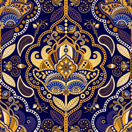 floral paisley: paisley seamless pattern. Floral ornamental background