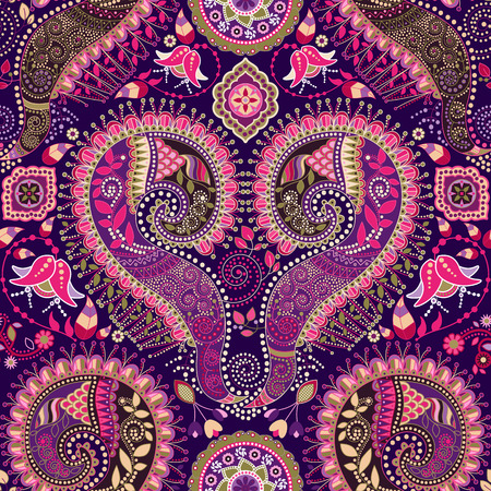 Ornamental seamless pattern. Paisley design with flowers and decorative elements 일러스트