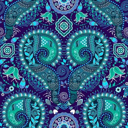 Ornamental seamless pattern. Paisley design with flowers and decorative elements Иллюстрация