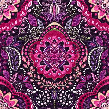 Ethnic floral seamless pattern. Abstract colorful ornamental pattern