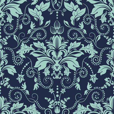 Seamless damask pattern. Dark floral background, wallpaper Illustration