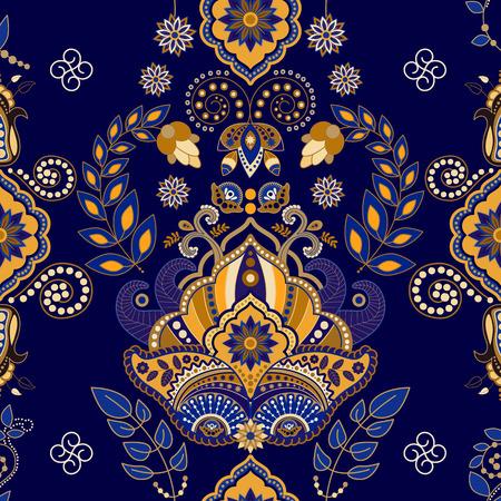 꽃 페이즐리 원활한 패턴, 어두운 파란색 배경 스톡 콘텐츠 - 43694959