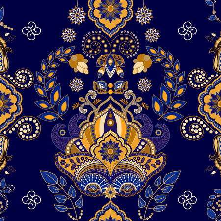 Floral Paisley seamless pattern, dark blue background Иллюстрация