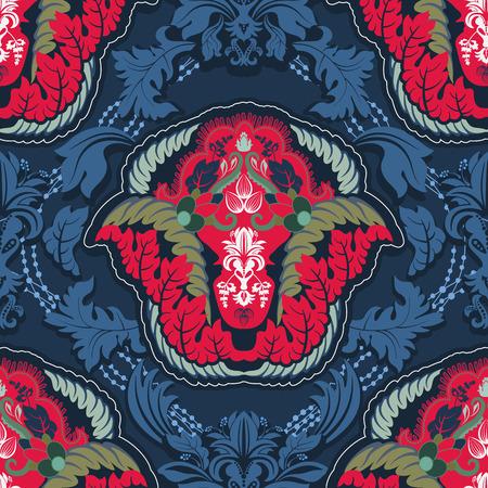 indische muster: Blaue und rote indische nahtlose Muster Illustration