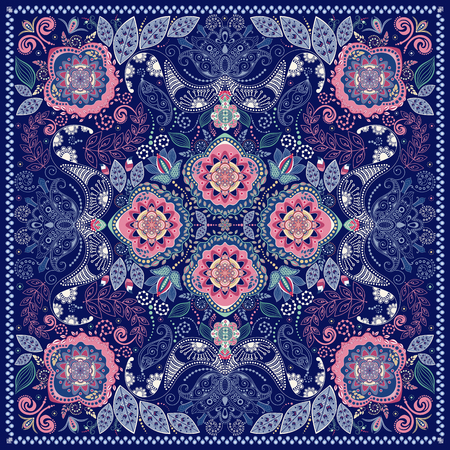 exotic: Ornamental Paisley pattern, design for pocket square, textile, silk shawl Illustration
