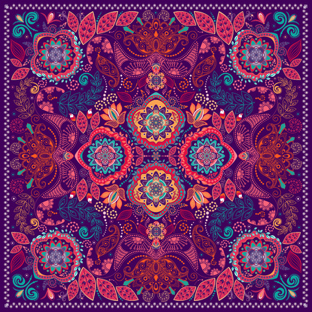Ornamental Paisley pattern, design for pocket square, textile, silk shawl 일러스트