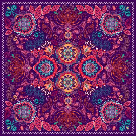 Ornamental Paisley pattern, design for pocket square, textile, silk shawl Illustration