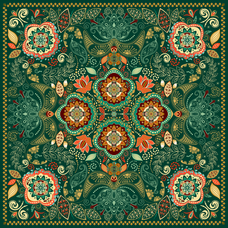 ornamental pattern: Ornamental Paisley pattern, design for pocket square, textile, silk shawl Illustration
