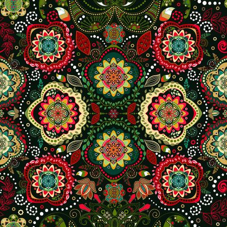 batik: Seamless floral. Ornement papier peint vintage Illustration