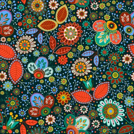 Floral seamless pattern. Colorful ornamental background, wallpaper Illustration
