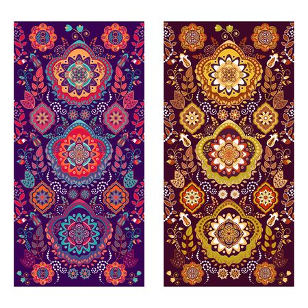 paisley: Two vector Paisley covers or stickers background on phone Illustration