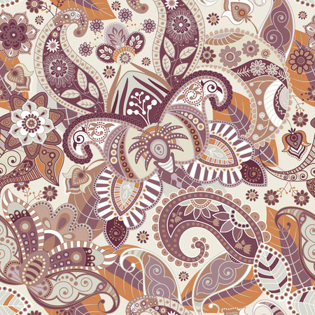 Vector seamless flowers pattern. Paisley seamless wallpaper