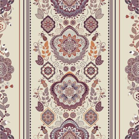 Striped floral pattern. Decorative ornamental wallpaper, floral background Illustration