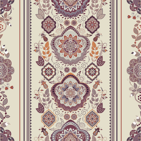 Striped floral pattern. Decorative ornamental wallpaper, floral background Illustration