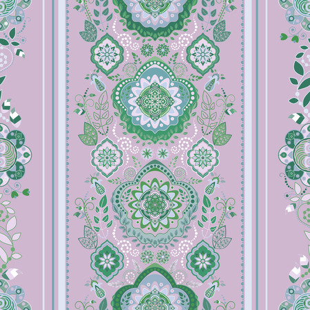 decorative wallpaper: Striped floral pattern. Decorative ornamental wallpaper, floral background Illustration