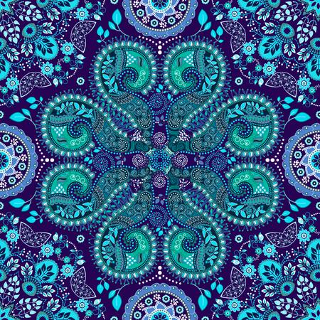 Blue indian seamless pattern. Fantasy ornamental wallpaper