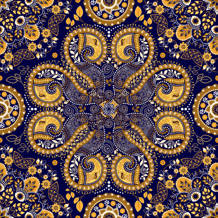 Blue indian seamless pattern. Fantasy ornamental wallpaper