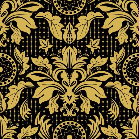 Seamless damask pattern. Dark floral background, wallpaper Illustration