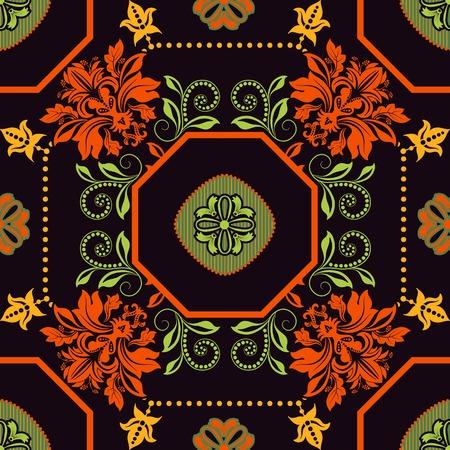 batik: Carreau géométrique. Ornement fond floral transparente