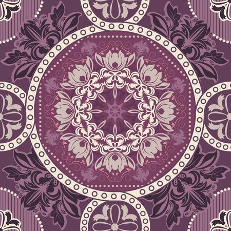 dutch tiles: Geometrical tile pattern. Ornamental seamless floral background Illustration