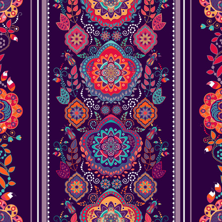 exotic: Striped floral pattern. Decorative ornamental wallpaper, floral background Illustration
