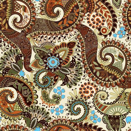 Paisley seamless pattern, floral wallpaper. Fantasy background 일러스트
