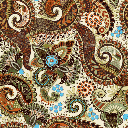 Paisley seamless pattern, floral wallpaper. Fantasy background Illustration