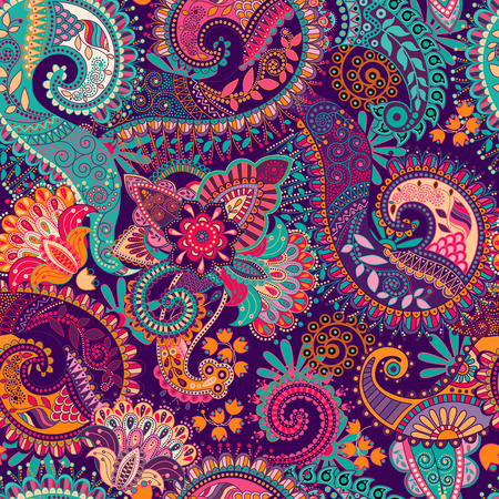 Paisley seamless pattern, floral wallpaper. Fantasy background Vettoriali