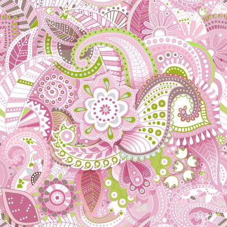 Bloemen naadloos patroon met decoratieve bloemen, behang Stock Illustratie