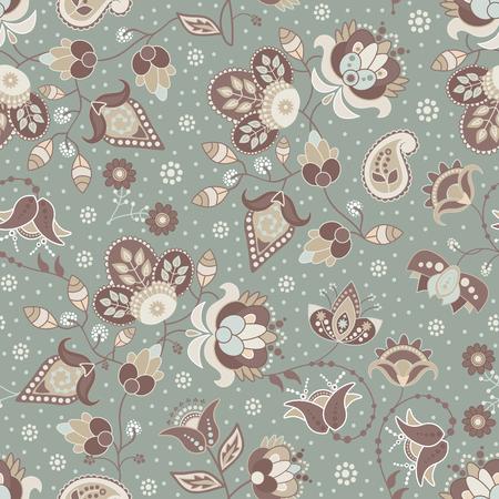 Vector seamless flowers pattern. Paisley seamless wallpaper