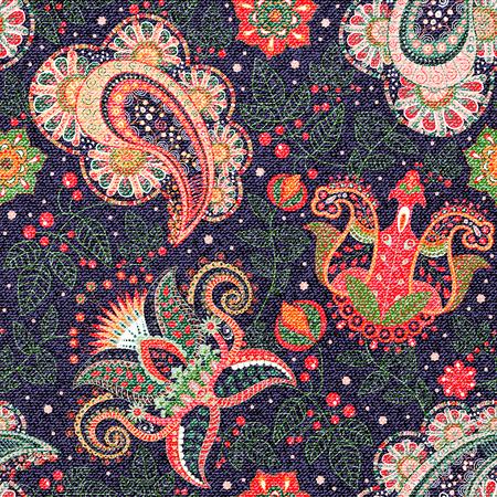 batik: Seamless floral. Colorful Paisley, textile