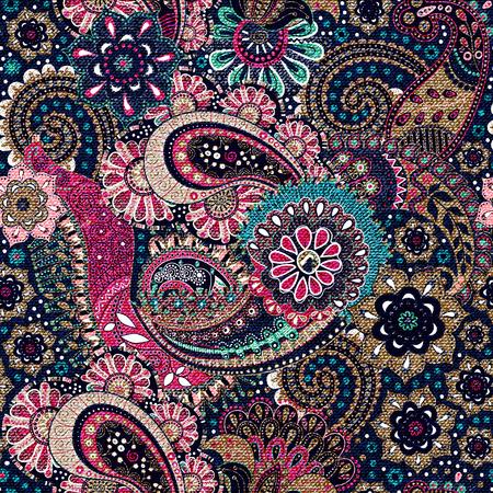 花のシームレスなパターン。カラフルなペイズリー背景、繊維  イラスト・ベクター素材