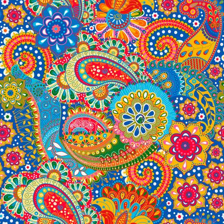 arte abstracto: Modelo inconsútil floral. Fondo colorido de Paisley, textil
